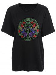 Plus Size Floral Bird Embroidered T-Shirt