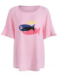 Flare Sleeve Fish Graphic Top Plus Size