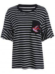 Bird Embroidered Plus Size Stripe T-Shirt