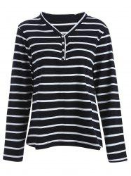 Plus Size V Neck Cotton Long Sleeve Stripe T-Shirt