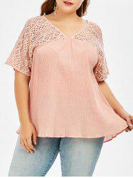 Hollow Out Pleated Plus Size Smock Blouse