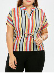 Plus Size Drawstring Colored Stripe Chiffon Blouse