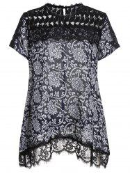 Plus Size Lace Trim Print Top
