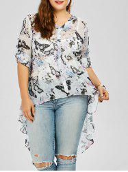 High Low Butterfly Print Plus Size Top