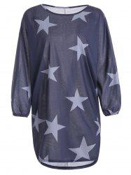 Star Print Long Sleeve T-Shirt Casual Dress