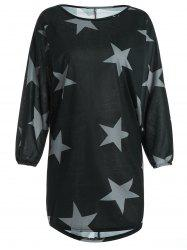 Star Printed Long Sleeve T-Shirt Dress