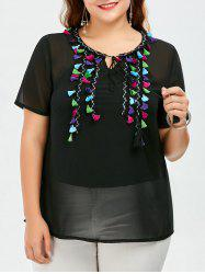 Plus Size Tassel Chiffon Top With Camisole