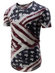 Flag Print High Low Hem Longline T-Shirt