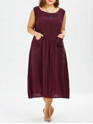 Plus Size Midi Pleated Tea Length Casual Dress