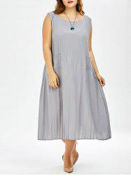 Plus Size Pleated Tea Length Casual Dress