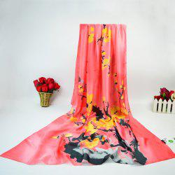 Wintersweet Blossom Ink Painting Wrap Scarf