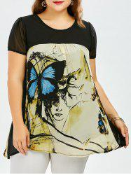Plus Size Sweet Butterfly Print Asymmetrical Blouse - BLUE