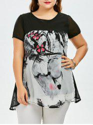 Plus Size Sweet Butterfly Print Asymmetrical Blouse - ROSE RED