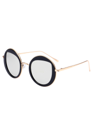 Mirrored Cat Eye Lens Insert Round Sunglasses