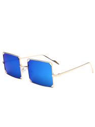 Hollow Out Mirrored Lens Metal Rectangle Sunglasses