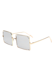 Hollow Out Mirrored Lens Metal Rectangle Sunglasses - GOLD FRAME + SILVER LENS