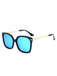 Metal Leg Mirrored Butterfly Sunglasses - BLACK FRAME + BLUE