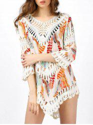 Hollow Out Crochet Insert Beach Cover Up - Blanc Cassé