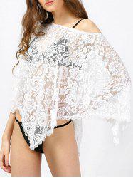 Skew Neck Batwing Lace Swimsuit Cover Up