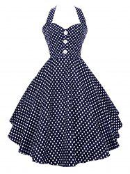 Polka Dot Halter Vintage Dress -