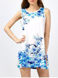 Sleeveless Round Neck Floral Print Mini Dress