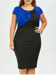 Plus Size Bow Embellished Knee Length Bodycon Dress -