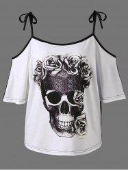 Open Shoulder Skull 3D Print T-Shirt