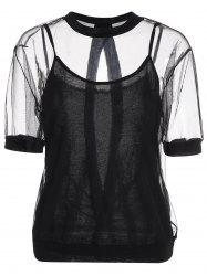 Plus Size Backless Sheer Top With Camisole
