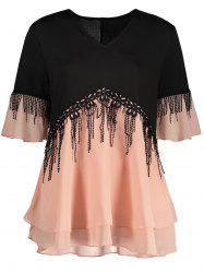 Plus Size Fringe Color Block Top - ORANGEPINK
