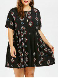 Argyle Printed Chiffon Plus Size Mini Smock Dress
