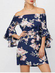 Floral Print Off The Shoulder Dress - DEEP BLUE