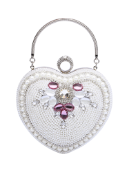 Heart Shaped Beading Evening Bag