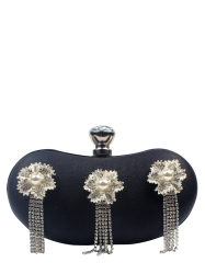 Flowers Fringe Metal Trim Evening Bag -