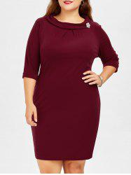 Back Zipper Plus Size Brooch Pencil Dress With Sleeves