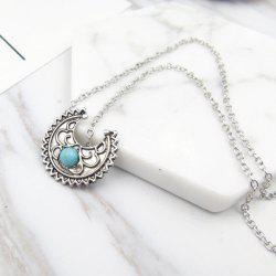 Faux Turquoise Moon Pendant Gypsy Necklace
