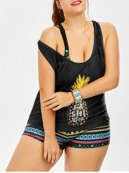 Padded Bra Pineapple Print Plus Size Bathing Suit - BLACK