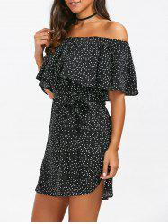 Belted Off The Shoulder Flounce Summer Dress -