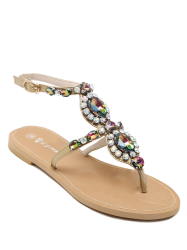Flat Heel Fancy Coloured Diamond Sandals