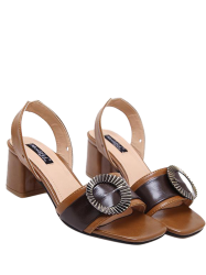 Buckle Strap Block Heel Slingback Sandals