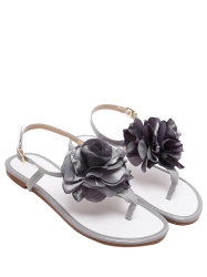 Flower Patent Leather Sandals