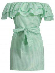 Off The Shoulder Flounce Striped Shirt Dress - LIGHT GREEN