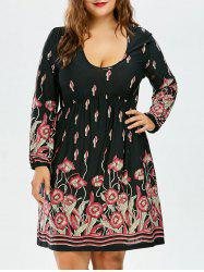 Floral High Waist Long Sleeve Dress - BLACK