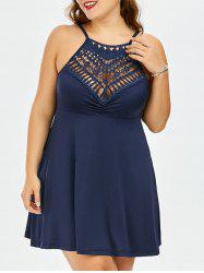 Lace Trim Empire Waist A Line Plus Size Slip Dress - PURPLISH BLUE