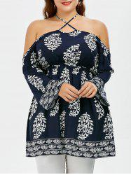 Halter Open Shoulder Plus Size Blouse