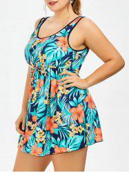 Plus Size Padded Floral Skirted Tank One Piece Swimsuit - GREEN