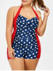 Plus Size Stars Halter Boy Shorts Vintage Bathing Suit