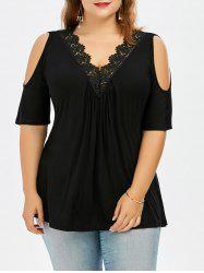 Plus Size Lace Trim Cold Shoulder V Neck Flowy Top - BLACK