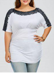 Plus Size Ruched Lace Trim T-Shirt