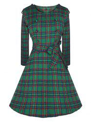Vintage Buttons Epaulette Checked Dress