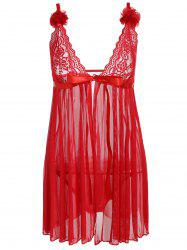Sheer Mesh Lace Panel Slip Babydoll - RED ONE SIZE